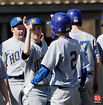 Falls Village, CT-03, April 2010-040310CM06  Housatonic's Mark Dignacco (#2) gets congratulated by teammates after hitting an inside the park home run (on an error) against Torrington Saturday morning in Falls Village. The pre-season scrimmage ended in a tie, 5-5.   --Christopher Massa Republican-American