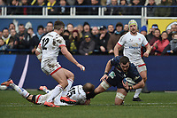 11th January 2020, Parc des Sports Marcel Michelin, Clermont-Ferrand, Auvergne-Rhône-Alpes, France; European Champions Cup Rugby Union, ASM Clermont versus Ulster;  Paul Jedrasiak (asm) brought down by Will Adisson (ulster)