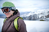 USA, Nevada, Ruby Mountains, a mountaintop portrait of a woman skier