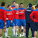 Steven Naismith having a laugh at the team meeting as John Fleck and Lee McCulloch watch on