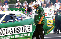 Jun. 2, 2013; Englishtown, NJ, USA: Jim Dunn team owner of NHRA funny car driver Jeff Arend during the Summer Nationals at Raceway Park. Mandatory Credit: Mark J. Rebilas-