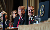 February 7, 2019 - Washington, DC, United States: United States President Donald J. Trump attends the 2019 National Prayer Breakfast. (Chris Kleponis / Polaris)United States President Donald J. Trump attends the 2019 National Prayer Breakfast at the Washington Hilton Hotel in Washington, DC on Thursday, February 7, 2019.  At right next to the president is United States Senator James Lankford (Republican of Oklahoma).<br /> Credit: Chris Kleponis / Pool via CNP