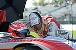 31 August 2007: Audi Sport North America driver Marco Werner (DEU) sits in the Audi R10 TDI while Emanuele Pirro (ITA) talks with him at the Detroit Sports Car Challenge presented by Bosch, Detroit, MI