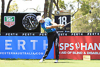 Gareth Paddison (NZL) on the 18th tee during Round 1 of the ISPS HANDA Perth International at the Lake Karrinyup Country Club on Thursday 23rd October 2014.<br /> Picture:  Thos Caffrey / www.golffile.ie