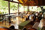The covered terrace atPico Bonito Lodge, a jungle lodge, in Honduras.