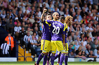 Pictured L-R: Pablo Hernandez of Swansea celebrating his goal with team mates Chico Flores, Jonathan de Guzman and Jose Canas.<br />