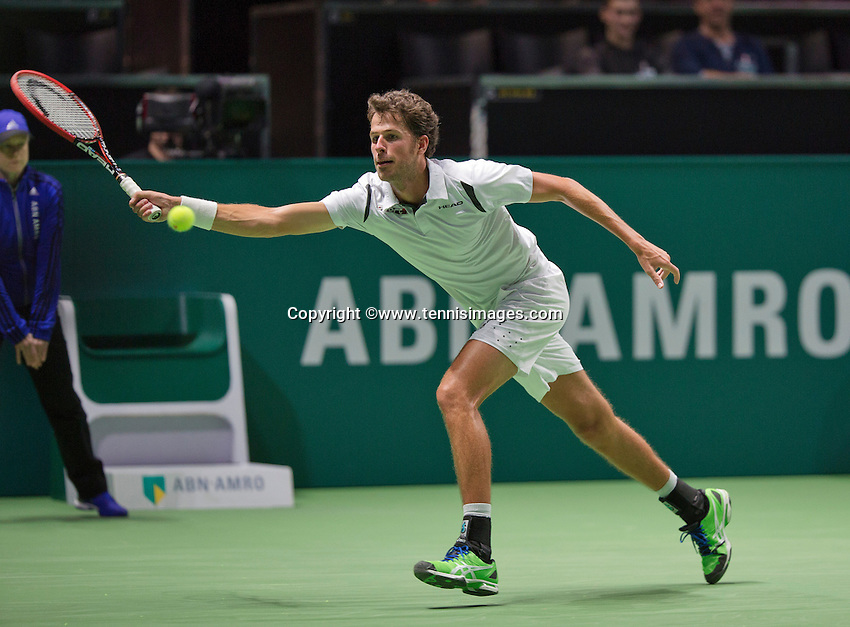 Februari 11, 2015, Netherlands, Rotterdam, Ahoy, ABN AMRO World Tennis Tournament, Robin Haase (NED) - Andreas Seppi (UKR)<br /> Photo: Tennisimages/Henk Koster