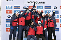 March 14th 2020, Kontiolahti, Finland;  The Norwegian team celebrate after Johannes Thingnes Boe back secured the overall victory in the seasons World Cup after the mens 12.5 km Pursuit competition at the IBU Biathlon World Cup in Kontiolahti, Finland, on March 14, 2020.