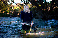GWRC environmental scientist Ashley Mitchell at Waipoua River in Masterton, New Zealand on Thursday, 9 August 2018. Photo: Dave Lintott / lintottphoto.co.nz