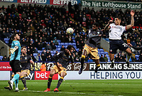 Bolton Wanderers' Josh Magennis heads goalwards<br /> <br /> Photographer Andrew Kearns/CameraSport<br /> <br /> The EFL Sky Bet Championship - Bolton Wanderers v Sheffield Wednesday - Tuesday 12th March 2019 - University of Bolton Stadium - Bolton<br /> <br /> World Copyright © 2019 CameraSport. All rights reserved. 43 Linden Ave. Countesthorpe. Leicester. England. LE8 5PG - Tel: +44 (0) 116 277 4147 - admin@camerasport.com - www.camerasport.com