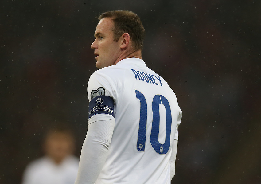 England's Wayne Rooney  in action during todays match  <br /> <br /> Photographer Kieran Glavin/CameraSport<br /> <br /> International Football - UEFA EURO 2016 - European Qualifiers Group E - England v San Marino - Thursday 9th October 2014 - Wembley Stadium - London <br /> <br /> &copy; CameraSport - 43 Linden Ave. Countesthorpe. Leicester. England. LE8 5PG - Tel: +44 (0) 116 277 4147 - admin@camerasport.com - www.camerasport.com