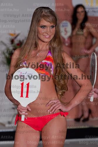 Kitti Csonka participates the Miss Hungary beauty contest held in Budapest, Hungary on December 29, 2011. ATTILA VOLGYI