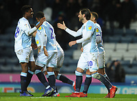 Blackburn Rovers' Danny Graham celebrates scoring the opening goal with team-mate Tyler Magloire<br /> <br /> Photographer Kevin Barnes/CameraSport<br /> <br /> The EFL Sky Bet Championship - Blackburn Rovers v Wigan Athletic - Tuesday 12th March 2019 - Ewood Park - Blackburn<br /> <br /> World Copyright © 2019 CameraSport. All rights reserved. 43 Linden Ave. Countesthorpe. Leicester. England. LE8 5PG - Tel: +44 (0) 116 277 4147 - admin@camerasport.com - www.camerasport.com