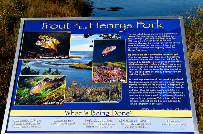 Interpretive signs on the Henry's Fork at one entrance to Harriman State Park