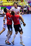 Jin Watanabe (JPN), <br /> AUGUST 17, 2018 - Handball : Men's Preliminary Round match between <br /> Korea 26-26 Japan at GOR Popki Cibubur during the 2018 Jakarta Palembang Asian Games in Jakarta, Indonesia. <br /> (Photo by MATSUO.K/AFLO SPORT)