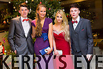 Cathal O'Callathan, Orlaith Rohan, Megan Flannery, Brandon Hoare enjoying the Castlegregory Secondary School Debs at the Brandon Hotel on Saturday