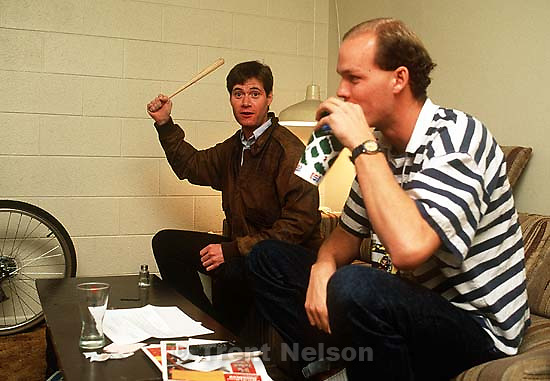 Paul Doerr with bat and Jerry Jeffs<br />