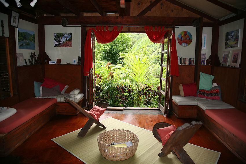 "The ""tv"" room at Cocoa Cottages, Trafalgar, Dominica (no tv, just view of the rainforest)"