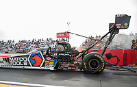 Feb 21, 2020; Chandler, Arizona, USA; NHRA top fuel driver Antron Brown during qualifying for the Arizona Nationals at Wild Horse Pass Motorsports Park. Mandatory Credit: Mark J. Rebilas-USA TODAY Sports