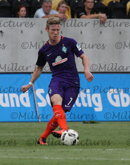 Florian Kainz in the Werder Bremen v Real Betis match in the Bundeswehr Karriere Cup Dresden 2016 played at the DDV Stadion, Dresden on 29.7.16.