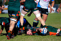Pakuranga hooker Michael McBeath lays the ball back during the Auckland Premier club rugby Alan McEvoy Trophy match between Pakuranga and Grammar TEC at Bell Park in Auckland, New Zealand on Saturday, 9 June 2018. Photo: Dave Lintott / lintottphoto.co.nz