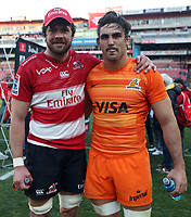 Warren Whiteley (captain) of the Emirates Lions  with Pablo Matera (captain) of the Jaguares after the Super Rugby quarter-final match between the Emirates Lions and the Jaguares at the Emirates Airlines Park Stadium,Johannesburg, South Africa. 21,07,2018 (Photo by  Steve Haag Jaguares)