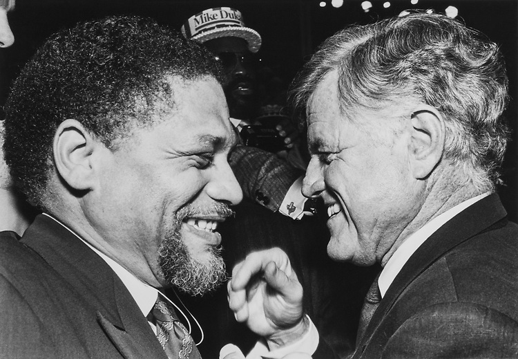 Rep. Mickey Leland, D-Tex. and Sen. Ted Kennedy, D-Mass. on Aug. 7, 1988. (Photo by Andrea Mohin/CQ Roll Call)