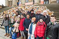 """Aktion """"Jede Kindheit zaehlt"""" der christlichen Hilfsorganisation """"World Vision"""" in Berlin anlaesslich des 7. Jahrestages des Beginns des syrischen Buergerkrieg am 15. Maerz 2011.<br /> Seit Beginn des Buergerkrieg sind laut World Vision ueber 2,5 Millionen syrische Kinder auf der Flucht, 740.000 von ihnen im Schulalter.<br /> Kinder und Jugendliche haben aus diesem Anlass auf dem Berliner Gendarmenmarkt ein Mahnmal aus 740 gespendeten Teddybaeren errichtet. Jeder Teddy steht fuer 1.000 syrische Kinder.<br /> Im Bild vlnr.: Maik Behrmann, MdB CDU; Frank Heinrich, MdB CDU; Christoph Waffenschmidt, Vorstandsvorsitzender von World Vision Deutschland; Johannes Selle, MdB CDU.<br /> 15.3.2018, Berlin<br /> Copyright: Christian-Ditsch.de<br /> [Inhaltsveraendernde Manipulation des Fotos nur nach ausdruecklicher Genehmigung des Fotografen. Vereinbarungen ueber Abtretung von Persoenlichkeitsrechten/Model Release der abgebildeten Person/Personen liegen nicht vor. NO MODEL RELEASE! Nur fuer Redaktionelle Zwecke. Don't publish without copyright Christian-Ditsch.de, Veroeffentlichung nur mit Fotografennennung, sowie gegen Honorar, MwSt. und Beleg. Konto: I N G - D i B a, IBAN DE58500105175400192269, BIC INGDDEFFXXX, Kontakt: post@christian-ditsch.de<br /> Bei der Bearbeitung der Dateiinformationen darf die Urheberkennzeichnung in den EXIF- und  IPTC-Daten nicht entfernt werden, diese sind in digitalen Medien nach §95c UrhG rechtlich geschuetzt. Der Urhebervermerk wird gemaess §13 UrhG verlangt.]"""
