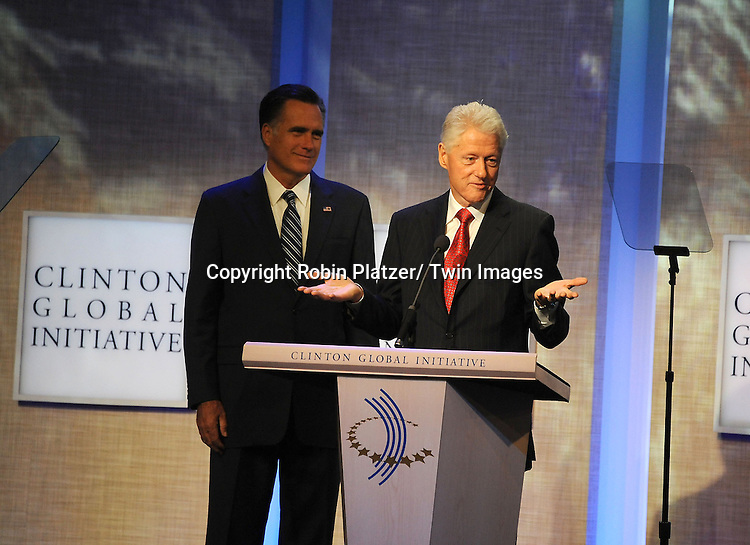 Mitt Romney and President Bill Clinton  at  the Clinton Global Initiative where Mitt Romney  spoke on September 25, 2012 at the Sheraton in New York City.
