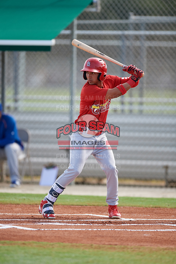 GCL Cardinals center fielder Jonathan Machado (3) at bat during a game against the GCL Mets on July 23, 2017 at Roger Dean Stadium Complex in Jupiter, Florida.  GCL Cardinals defeated the GCL Mets 5-3.  (Mike Janes/Four Seam Images)
