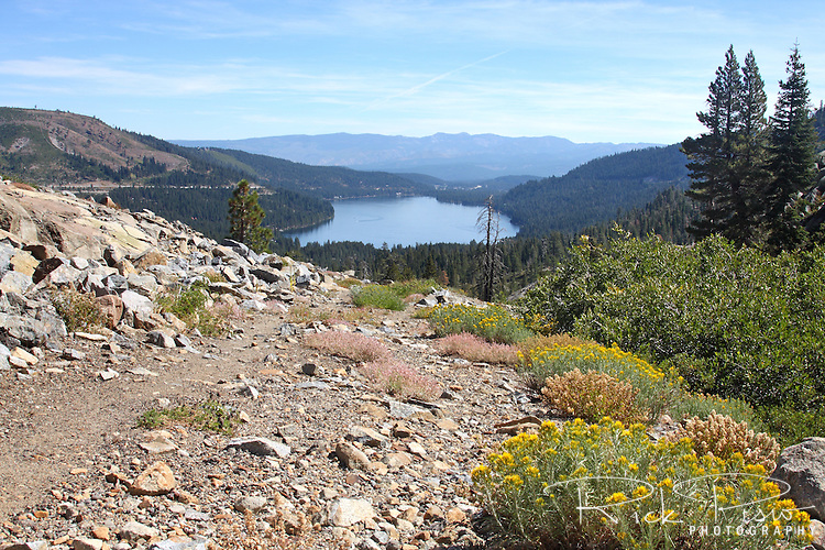 Lincoln Highway roadbed at Donner Summit with Donner Lake and Interstate 80 visible in the background.