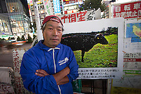 Masami Yoshizawa, a Fukushima farmer and anti-nuclear activist, after making a speech in Shibuya, Tokyo, Japan. Friday October 24th 2014