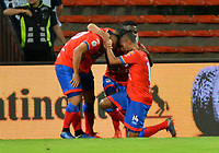 MEDELLÍN - COLOMBIA, 30-03-2019: Jugadores de Deportivo Pasto, celebran el gol anotado a Átletico Nacional durante partido de la fecha 12 entre Atlético Nacional y Deportivo Pasto, por la Liga Águila I 2019, jugado en el estadio Atanasio Girardot de la ciudad de Medellín. / Players of Deportivo Pasto, celebrate a goal scored to Atletico Nacional during a match of the 12th date between Atletico Nacional and Deportivo Pasto for the Aguila League I 2019, played at Atanasio Girardot stadium in Medellin city. Photo: VizzorImage / León Monsalve / Cont.