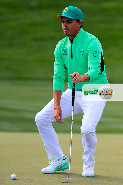 Rickie Fowler (USA) on the 8th during the 3rd round of the Waste Management Phoenix Open, TPC Scottsdale, Scottsdale, Arisona, USA. 02/02/2019.<br /> Picture Fran Caffrey / Golffile.ie<br /> <br /> All photo usage must carry mandatory copyright credit (&copy; Golffile | Fran Caffrey)