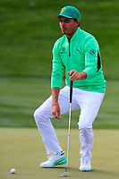 Rickie Fowler (USA) on the 8th during the 3rd round of the Waste Management Phoenix Open, TPC Scottsdale, Scottsdale, Arisona, USA. 02/02/2019.<br /> Picture Fran Caffrey / Golffile.ie<br /> <br /> All photo usage must carry mandatory copyright credit (© Golffile | Fran Caffrey)