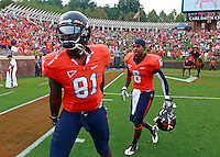 Sept. 3, 2011 - Charlottesville, Virginia - USA; Virginia Cavaliers tight end Jeremiah Mathis (81) and Virginia Cavaliers wide receiver Darius Jennings (6) prepare for the NCAA football game against William & Mary at Scott Stadium. Virginia won 40-3. (Credit Image: © Andrew Shurtleff)