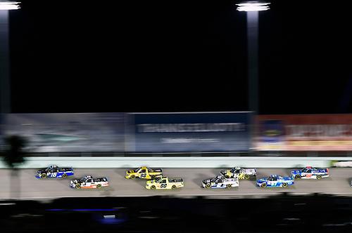 #16: Brett Moffitt, Hattori Racing Enterprises, Toyota Tundra AISIN Group and #18: Noah Gragson, Kyle Busch Motorsports, Toyota Tundra Safelite AutoGlass