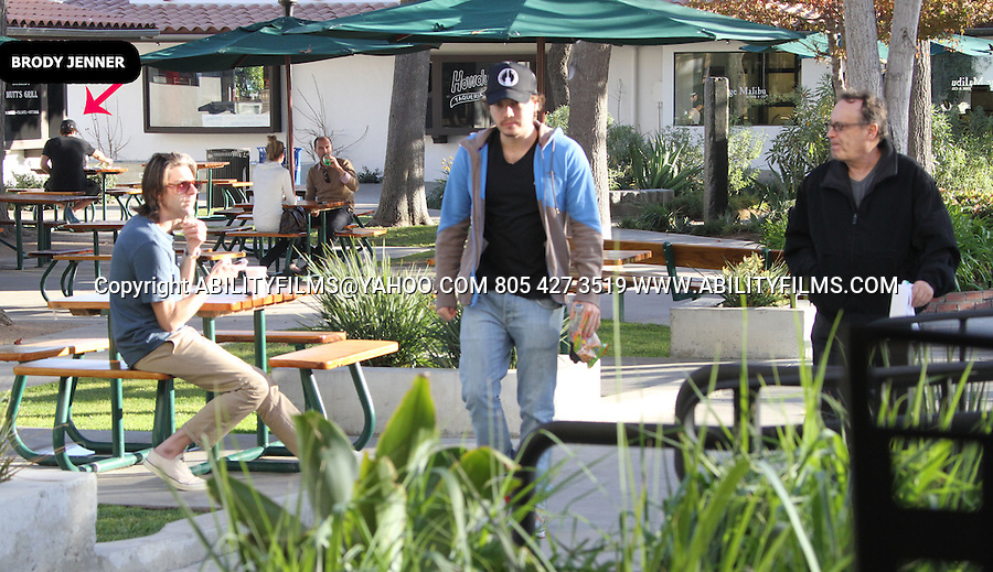 JANUARY 16TH 2013   Exclusive <br /> <br /> Emile Hirsch wearing a Eddie Vedder guitar tour hat eating lunch with his dad in Malibu California &amp; Brody Jenner  also eating in the background wearing all black. Emile was carrying his coke and corn nuts to go . <br /> <br /> ABILITYFILMS@YAHOO.COM<br /> 805 427 3519<br /> WWW.ABILITYFILMS.COM