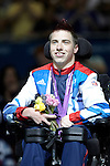 Great Britain's David Smith receives his silver medal for the individual BC1 boccia competition..London Paralympic Games - Boccia 8.9.12