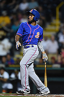 St. Lucie Mets shortstop Amed Rosario (11) at bat during a game against the Bradenton Marauders on April 11, 2015 at McKechnie Field in Bradenton, Florida.  St. Lucie defeated Bradenton 3-2.  (Mike Janes/Four Seam Images)
