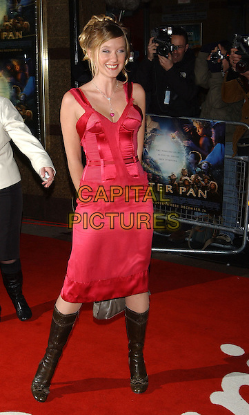 "LUDIVINE SAGNIER.""Peter Pan"" world film premiere.Empire cinema, Leicester Square, London.9 December 2003.full length, full-length, stella mccartney pink corset dress, leather knee high boots.sales@capitalpictures.com.www.capitalpictures.com.©Capital Pictures"
