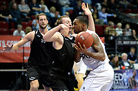 GRONINGEN - Basketbal, Donar - BSW Weert, Martiniplaza,  Dutch Basketball League, seizoen 2017-2018, 28-10-2017,  Donar speler Jason Dourisseau met BSW Weert speler Daan Rosenmuller