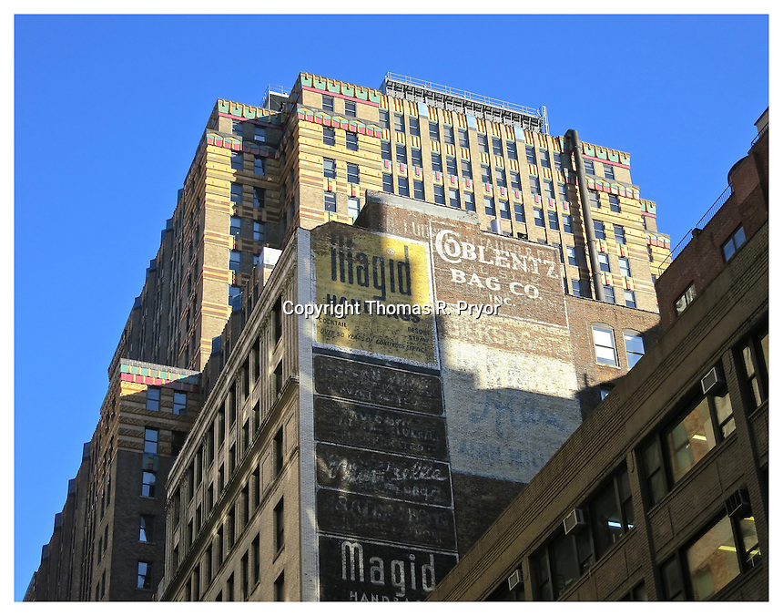 NEW YORK, NY - APRIL 2: Old painted signs on 33rd St building at Madison Ave on April 2, 2012 in New York, New York. Photo Credit: Thomas R. Pryor
