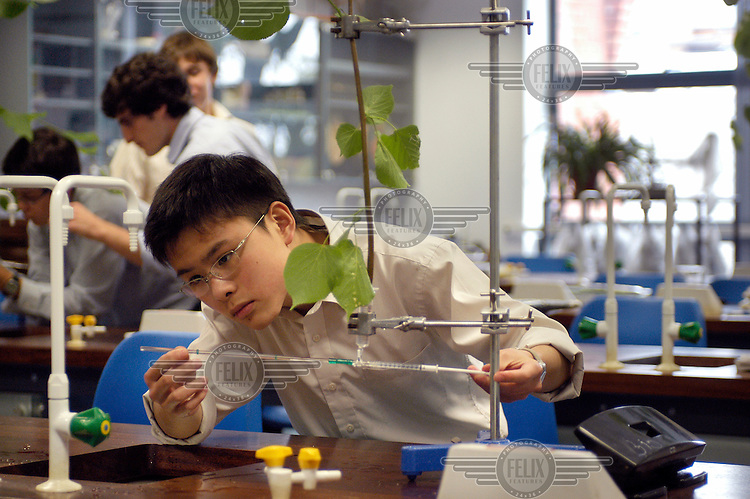 A science lesson at Rugby School, one of the oldest public (private) schools in England.