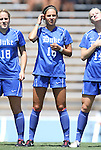 28 August 2011: Duke's Laura Weinberg. The Duke University Blue Devils defeated the Fighting Irish of Notre Dame 3-1 at Fetzer Field in Chapel Hill, North Carolina in an NCAA Women's Soccer game.