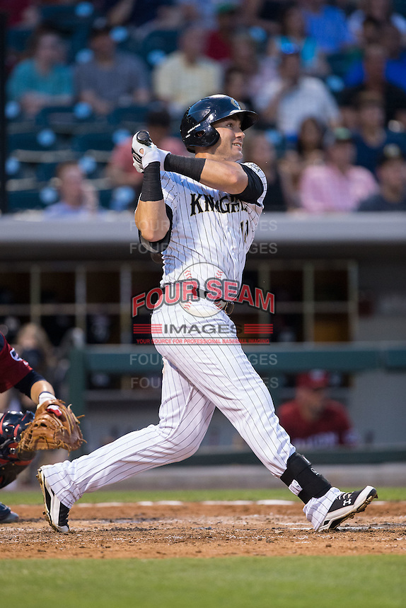 Nicky Delmonico (10) of the Charlotte Knights follows through on his swing against the Lehigh Valley Iron Pigs at BB&T BallPark on June 3, 2016 in Charlotte, North Carolina.  The Iron Pigs defeated the Knights 6-4.  (Brian Westerholt/Four Seam Images)