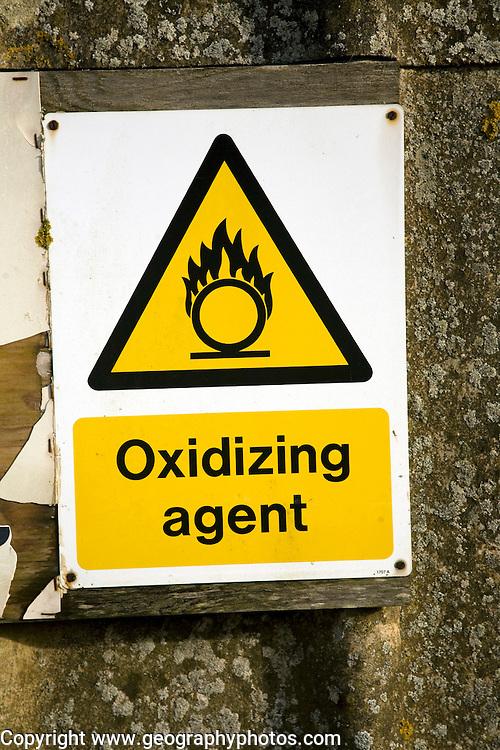 Sign warning of Oxidizing agent hazard