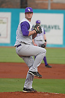 James Madison University pitcher Sean Tierney #29 pitching during a game against the Coastal Carolina Chanticleers at Watson Stadium at Vrooman Field on February 17, 2012 in Conway, SC.  Coastal Carolina defeated James Madison 7-1.  (Robert Gurganus/Four Seam Images)