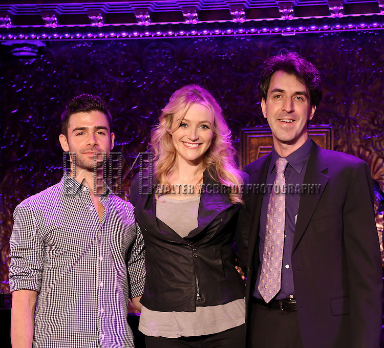 Adam Kantor, Betsy Wolfe and Jason Robert Brown perform a press preview of 'The Last 5 Years in Concert'  at 54 Below on September 23, 2013 in New York City.