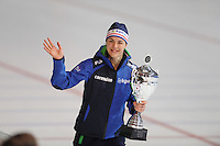 SCHAATSEN: ERFURT: Gunda Niemann Stirnemann Eishalle, 22-03-2015, ISU World Cup Final 2014/2015, winner 1500m Ladies World Cup, Marrit Leenstra (NED), ©foto Martin de Jong